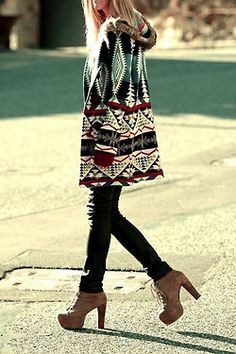southwestern sweater + chunky boots