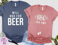 BBQ for Two, Will BBQ for Beer, Funny Couples Pregnancy Announcement Shirts, Baby Reveal Tshirt, Pregnant Tshirt, Mom and Dad to Be, BBQ Tee Pregnancy Announcement Shirt, Pregnancy Shirts, Beer Funny, Cheap Vinyl, Funny Couples, Boyfriend Style, Cute Shirts, Mom And Dad, Fitness Fashion
