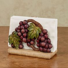 Wine lovers will cheer for the fruitful Grape Harvest Napkin Holder. Made of resin, the hand-painted accent features lush sangria grapes and brown vines. Grape Kitchen Decor, Kitchen Decor Themes, Rustic Kitchen, Mint Kitchen, Room Decor, Cheap Kitchen, Kitchen On A Budget, Kitchen Stuff, Kitchen Ideas