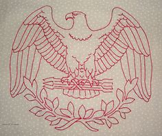Redwork eagle  (sg: use as a medallion in center of quilt)