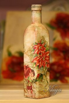 Bottle with decoupage~Μπουκάλι με decoupage