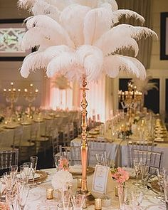 Your Best Source of Ostrich Feather Centerpieces rentals. Amazing for your roaring party, corporate event rentals, Great Gatsby Party or Mascarade. Roaring 20s Wedding, Roaring 20s Party, Gatsby Themed Party, Great Gatsby Party, 1920s Party, Gatsby Wedding, Wedding Decor, Mascarade Centerpieces, Wedding Centerpieces