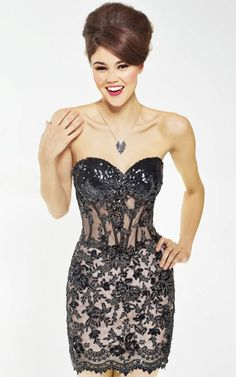 Sequined Strapless Sweetheart Lace Dress from Riva Lime
