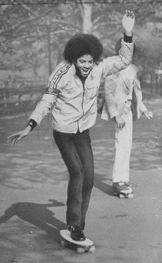 Michael Jackson on a skateboard.