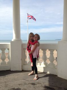 England flag with nieces at the beach :) x