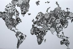 This map is made up of floral designs inside the outline of the continents. The designs are all different kinds of flowers and stems, and the medium