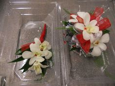 Wrist corsage and boutonniere to match. We used red and silver ribbon with red rhinestone sprays, silver pearl sprays and white dendrobium orchids with the red rhinestone embellishment. We wrapped the boutonniere in red ribbon to match. Samuel Franklin Floral & Home