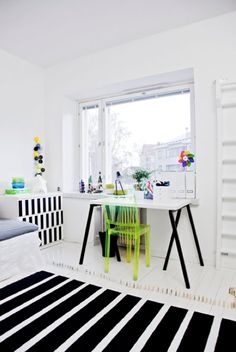 #black & #white #stripes minimalistic design with pops of #neon perhaps office space....