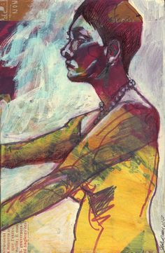 Stand Tall mixed media figure drawing mail art by by julianacoles, $75.00