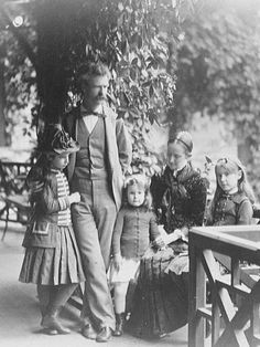 Mark Twain (Samuel Clemens) & Olivia Landon Clemens with their daughters, Olivia Susan, Jane, and Clara