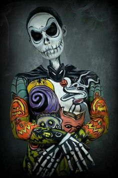 Tim Burton& The Nightmare Before Christmas Disney Halloween, Art Painting, Human Canvas, Nightmare Before Christmas, Painting, Art, Face Painting Halloween