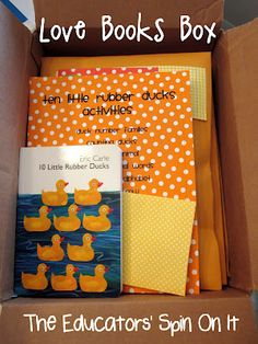 The Educators' Spin On It: The Educators' Spin On It: Sending Our Package for the LOVE BOOKS Summer Exchange.  We sent 10 Little Rubber Ducks by Eric Carle to Mommy and Me Book Club.