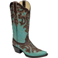 Corral Boots Turquoise & Chocolate Stud-Accent Leather Cowboy Boot ($160) ❤ liked on Polyvore featuring shoes, boots, embroidered boots, leather western boots, leather boots, studded cowgirl boots and embroidered cowgirl boots