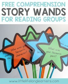FREE Reading comprehension story wands How I organise my guided reading tub for reading groups classroom organisation free printables literacy groups questioning teach students to ask questions while reading Guided Reading Activities, Guided Reading Groups, Reading Centers, Reading Workshop, Kindergarten Reading, Reading Resources, Reading Strategies, Reading Skills, Teaching Reading