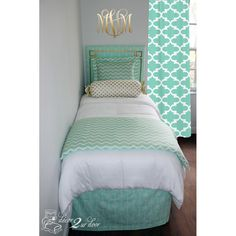 Mint Glitz Designer Bedding Set. Designer headboard, custom pillows, exclusive bed scarf, window panels, wall art, bed skirts, tein/queen/king duvet and custom monogramming!! Perfect for college, apartment, or teen bedding!!