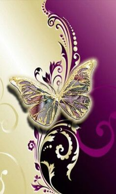 Butterfly and scroll Butterfly Kisses, Purple Butterfly, Butterfly Wings, Butterfly Quotes, Paper Butterflies, Beautiful Butterflies, Beautiful Flowers, Butterfly Painting, Butterfly Wallpaper