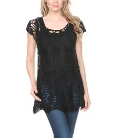 Ananda's Collection Black Crochet Handkerchief Tunic by Ananda's Collection #zulily #zulilyfinds