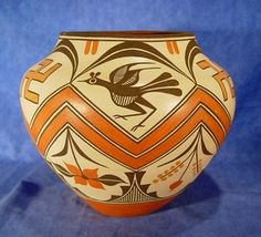 Pottery by Sofia and Lois Medina, Zia Pueblo  Hand coiled clay pottery 10 x 11 1/2 inches   AAIA, Inc. deals in antique & contemporary Native American Indian art and artifacts. We Buy, Sell, Consign, Appraise, Restore & Research.#Antique #American #Indian #Art (949) 813-7202 mwindianart@gmail.com