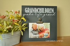We all know that grandchildren make life more grand for grandparents!  Larger than our average 8x10 sized board, this measures 12x12 and is perfect for displaying a 5x7 photo. Sign reads: Grandchildren (or Grandkids) Make Life Grand  Display photo shown measures 5x7.   All designs © Copyright Dandelion Wishes Design 2013-present. Any and all infringements of design shall be directed to Dandelion Wishes Design legal counsel for immediate action.     .... ... ... ... ... ... THE LITTLE…