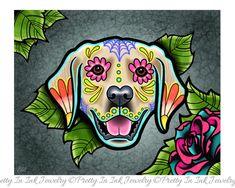 Day of the Dead Golden Retriever Sugar Skull by PrettyInInkJewelry