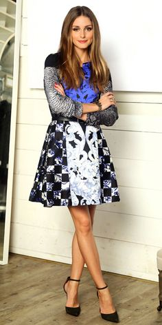 OP Tibi A Line patterned skirt, patterned top, black  mary jane heels, mixed prints