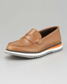 Prada Brown Penny Loafer On Sneaker Bottom