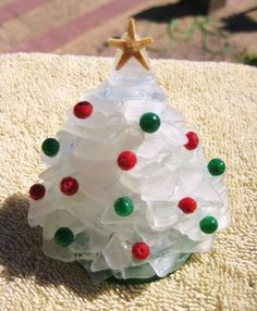 Small Green or White Sea Glass Christmas Tree by mexicobeachgirl, $40.00