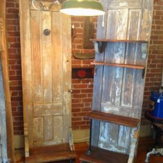 Old doors for a clothing display