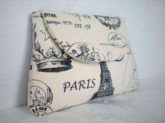 Gift Clutch - Paris Script - Bridesmaids Gifts - Birthdays - Graduation Gift - Make Up Bag - Travel Bag - Cosmetic Bag on Etsy, £11.10