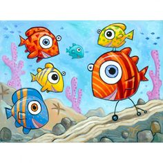 """Giclée Print on Fine Art Paper: """"New Fish in Town"""". Fish Artwork, Art Web, Paper News, Fish Print, Colorful Fish, Pigment Ink, Paper Size, Fine Art Paper, Giclee Print"""