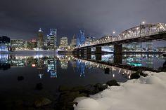 Downtown Portland, Oregon with snow