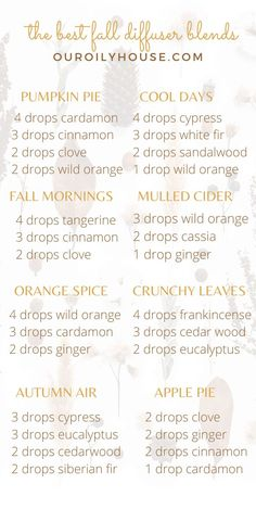 5 essential oil diffuser blends for fall. Pumpkin spice diffuser blend, mulled cider diffuser blend, and more! Bring the beautiful, warm, spicy smells of fall into your home with these essential oil diffuser blends. #essentialoils Best Smelling Essential Oils, Fall Essential Oils, Wild Orange Essential Oil, Ginger Essential Oil, Essential Oil Diffuser Blends, Roller Bottle Recipes, Fall Scents, Beauty Recipe, Pumpkin Spice