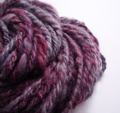 OffTheHooks on Etsy Plum handspun hand-dyed 3-ply bulky Icelandic wool yarn