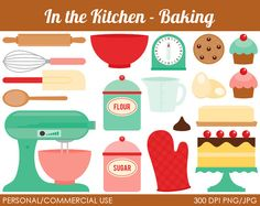 Clip Art Pictures, Kitchen - Baking Clipart - Digital Clip Art Graphics for Personal or Commercial Use (from mareetruelove on etsy) Scrapbooking, Scrapbook Pages, Vintage Baking, Kitchen Designs Photos, Clip Art Pictures, Recipe Scrapbook, Kitchen Art, Kitchen Tips, Kitchen Decor