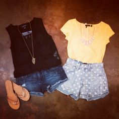 These two fun outfits are just dying to be in your closet! Black Mink Pink my dream crop top, with the black star cutoffs from Black Orchid paired with our 60% off gold glitters sandals! Yellow top paired with sugar magnolia shorts from Mink Pink! #ootd #staples #stockup #shophouseofsage www.houseofsage.com www.facebook.com/shophouseofsage