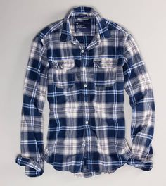 35513e7dd0 American Eagle Outfitters Men s Plaid Flannel Shirt perfect color for my  sweetie Blue Flannel Shirt