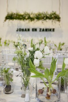 Green Floral Decor || Tablescape || Green and White Botanical Wedding || Ashanti South Africa :: See more on ConfettiDaydreams.com
