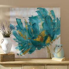 Turquoise and Gold Flower Canvas Art Print | Kirklands