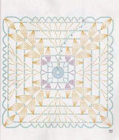Pretty crochet square motif diagram