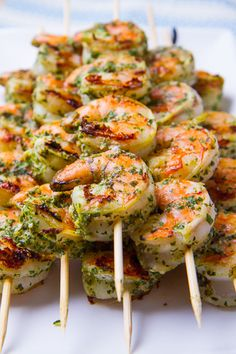 Light fresh and summery basil pesto marinated grilled shrimp.