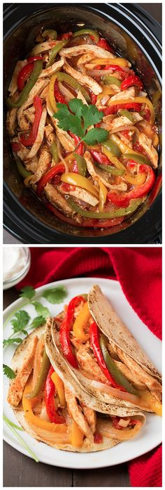 Slow Cooker Chicken Fajitas Ingredients 2 lbs boneless skinless chicken breast halves 1 oz) can petite diced tomatoes with green chilies 1 red, orange and green bell pepper, julienned 1 large yellow onion, halved and sliced 4 cloves … Continue reading → Brunch Recipes, Wine Recipes, Paleo Recipes, Mexican Food Recipes, Cooking Recipes, Cooking Ideas, Chicken Fajita Recipe, Chicken Fajitas, Chicken Recipes