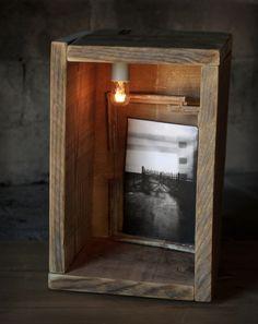 HANDMADE Photo Lightbox #216 _ First made in 2015 - January | Big & heavy PALLET WOOD BOX + Hand framed photo + crystal + light DIMMER + Ceramic bulb
