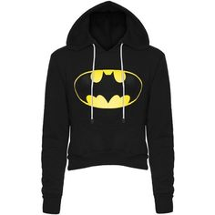 Womens Ladies Batman Fleece Long Sleeve Crop Cropped Hooded Hoody... ($10) ❤ liked on Polyvore featuring tops, hoodies, sweatshirts, shirts, jackets, batman, hooded sweatshirt, long sleeve crop top, fleece hoodie and hooded long sleeve shirt