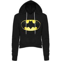 Womens Ladies Batman Fleece Long Sleeve Crop Cropped Hooded Hoody... ($9.97) ❤ liked on Polyvore featuring tops, hoodies, sweatshirts, hoodie sweatshirts, hooded pullover, long sleeve tops, hooded crop top and pullover hooded sweatshirt