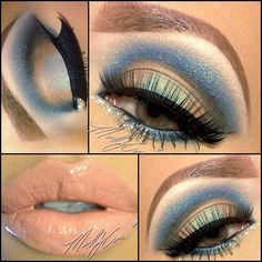 Blue Cut Crease very atractive eye make-up Beautiful Eye Makeup, Dramatic Makeup, Pretty Makeup, Love Makeup, Kiss Makeup, Hair Makeup, How To Apply Eyeliner, Makeup Obsession, Smokey Eye Makeup