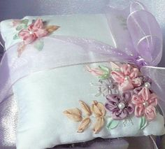 SILK RIBBON EMBROIDERY PROJECT Potpourri Pillows Five Petal Flower Tutorial Five Petal Flower Ribbon ...