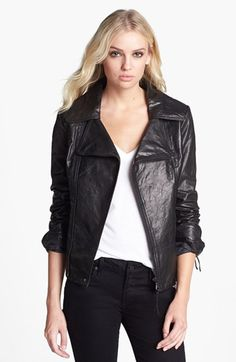 $297, Black Leather Biker Jacket: June Asymmetrical Leather Moto Jacket. Sold by Nordstrom. Click for more info: https://lookastic.com/women/shop_items/198204/redirect