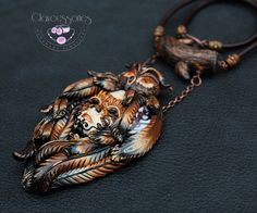 Owl necklace-Mask Necklace-Polymer clay by claycessories on Etsy