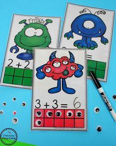 Monster Eyeballs Addition Game for Kindergarten.