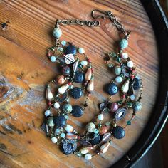 Earthy Gemstones Necklace Multistrand Beaded Necklace Rustic